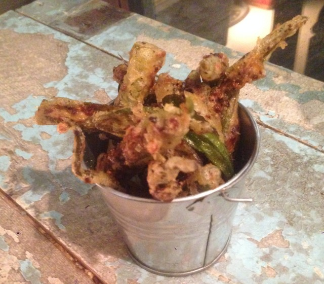 Okra Tempura Fries. Excellent, but it's a shame to think that the tempura batter is used only on Okra. I would also like to try that batter on fish, shrimp, pork, cheese and sausages.